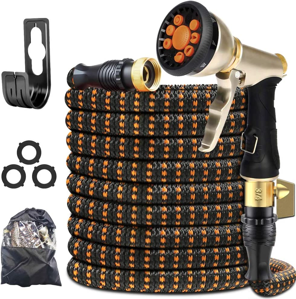 "XBUTY Garden Hose Expandable (Patented) - Super Durable Water Hose with Upgraded Anti-Leak System, 4-Layer Latex Tube, Premium 3750D Fabric, 9-Way Metal Sprayer, 3/4"" Solid Brass Fittings (25FT)"