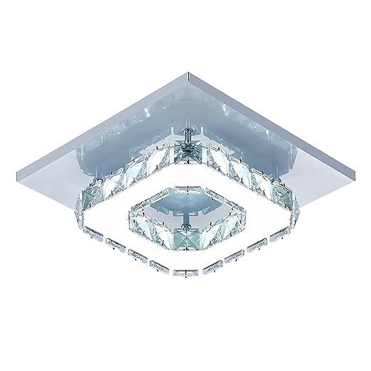 DAXGD Lámpara de techo de cristal Lámparas de techo Espejo de acero inoxidable LED 12W moderna