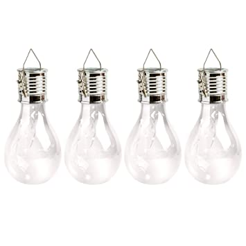 4 solar clear decorative hanging light bulbs with clips for outdoors
