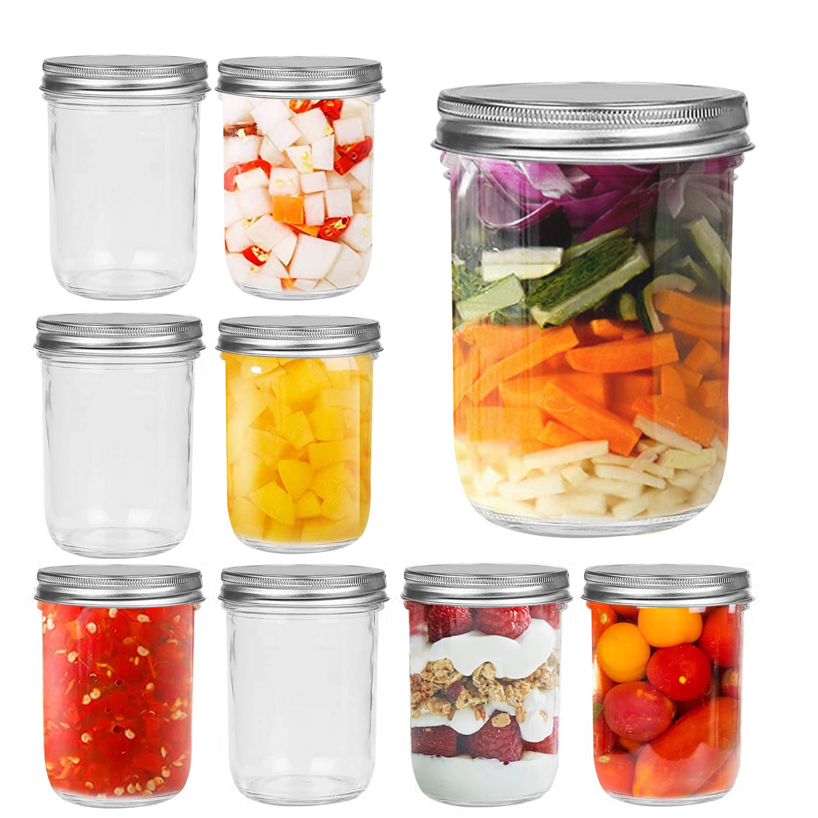 FRUITEAM 16 oz Wide Mouth Glass Mason Jars 8 Pack Smooth Sided