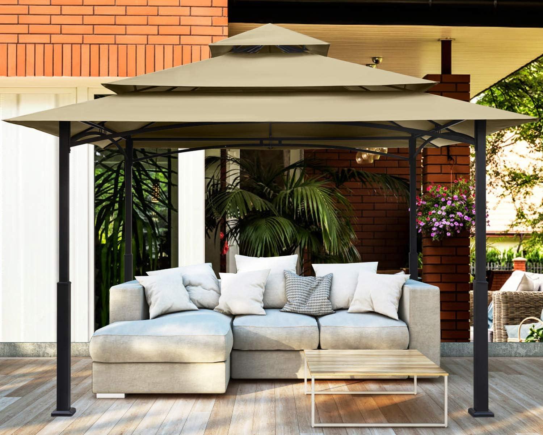 MASTERCANOPY 12x12 Feet Patio Gazebo Waterproof Soft-Top Steel Garden Gazebo Tent Lawn, Backyard and Deck(12x12FT,Beige)