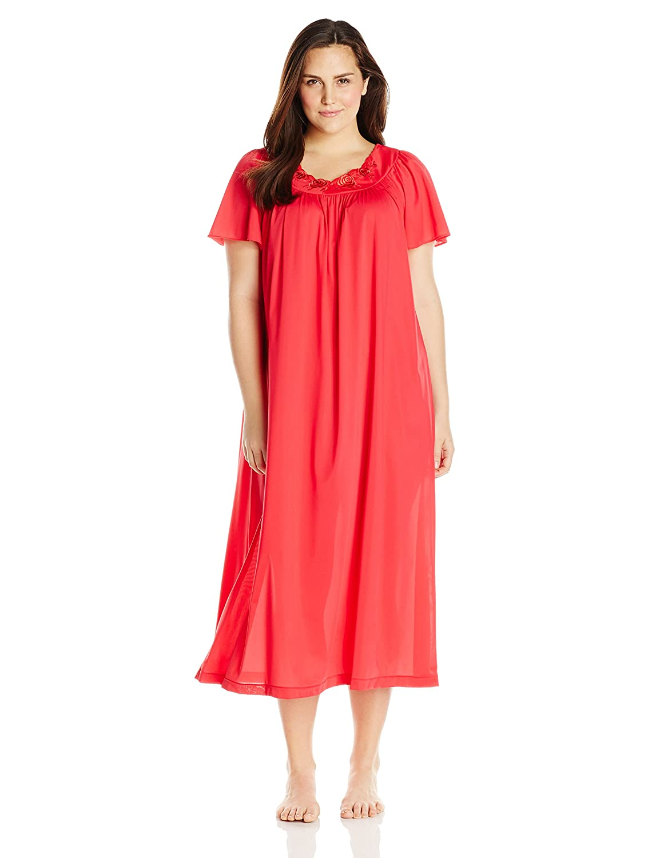 Shadowline Women\'s Plus-Size Petals 53 Inch Short Flutter Sleeve ...