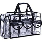 (Black) - KIOTA Makeup Artist Storage Bag, Clear Cosmetic Bag with Side Pockets and Shoulder Strap, Ergonomic Handle, ON THE GO Series - Black Trim