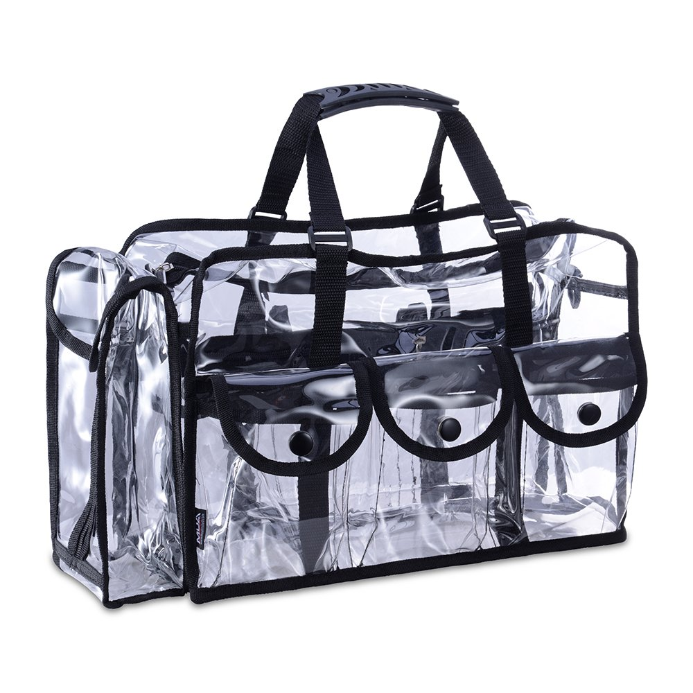 KIOTA Makeup Artist Storage Bag, Clear Cosmetic Bag with Side Pockets and Shoulder Strap, Ergonomic Handle, ON THE GO Series - Black Trim