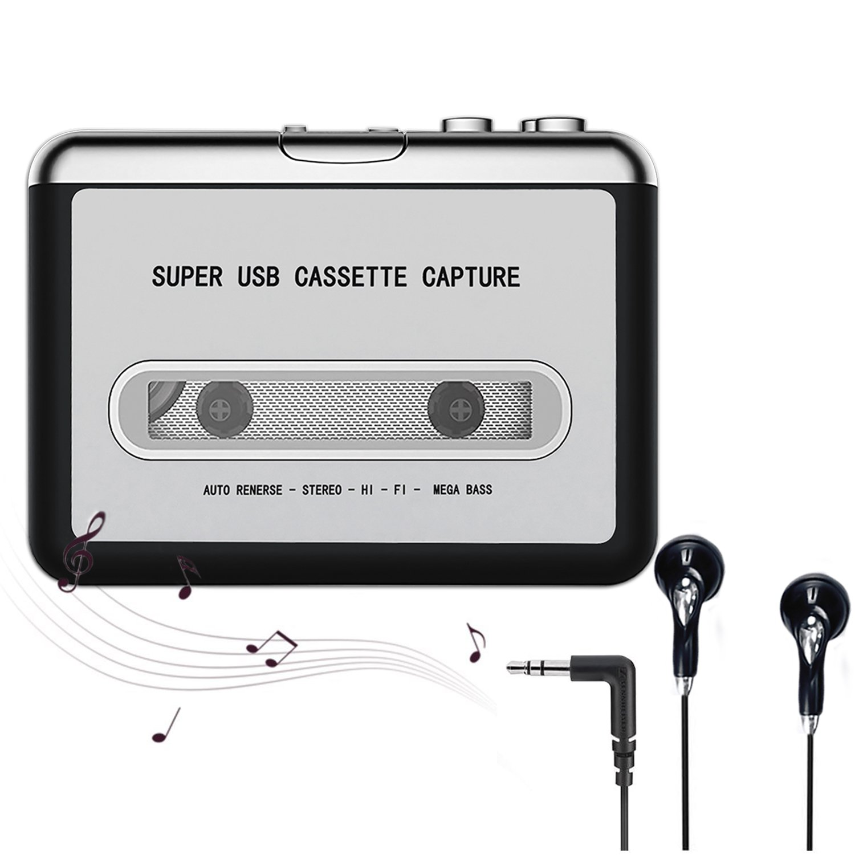 Cassette Player,Cassette to MP3 CD Converter Via USB,Portable Cassette Tape Player Converter Captures MP3 Audio Music,Convert Walkman Tape Cassette To MP3 Format, Compatible With Laptop PC