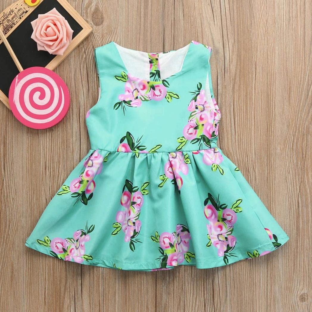 Wanshop Kids Princess Dress Toddler Infant Baby Girls Sleeveless Tutu Flower Dress Outfits Clothes for 0-3 Years Old