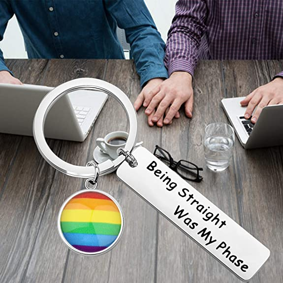 Rainbow Gay Pride Flag LGBTQ Resist Fist Love Peace Queer Key-chain Key Chain Key Ring Holder Gift Multiple Ring Sizes Available