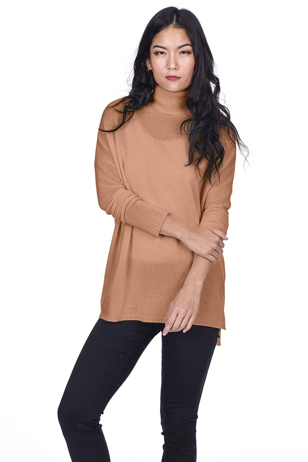 50b237ad2d6 100% Mongolian Cashmere Imported 100% Genuine 2-ply finest Inner Mongolian Cashmere  Tunic turtleneck,cable knitted ribbed design,slouchy sweater.
