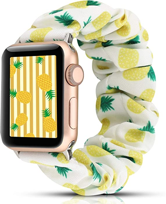 YOSWAN Scrunchie Elastic Watch Band Compatible for Apple Watch Band 38mm 42mm Women Girls Cloth Hair Rubber Band Strap Bracelet for iwatch SE Series 6 5 4 3 2 1 (DG2 Pineapple, 38mm/40mm)