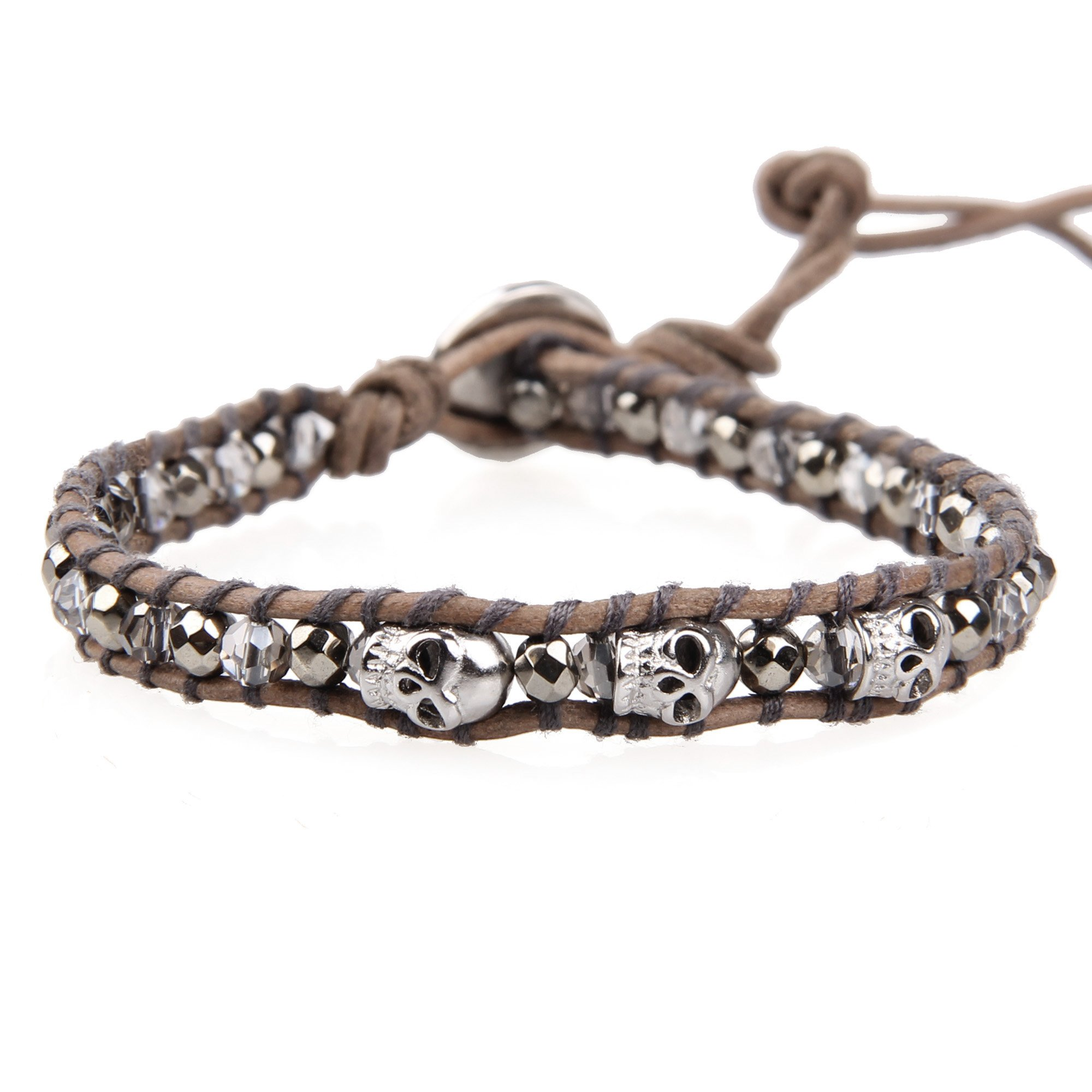 KELITCH Crystal and Hematite Bead Brown Leather Bracelet Wristband with Skull Charm
