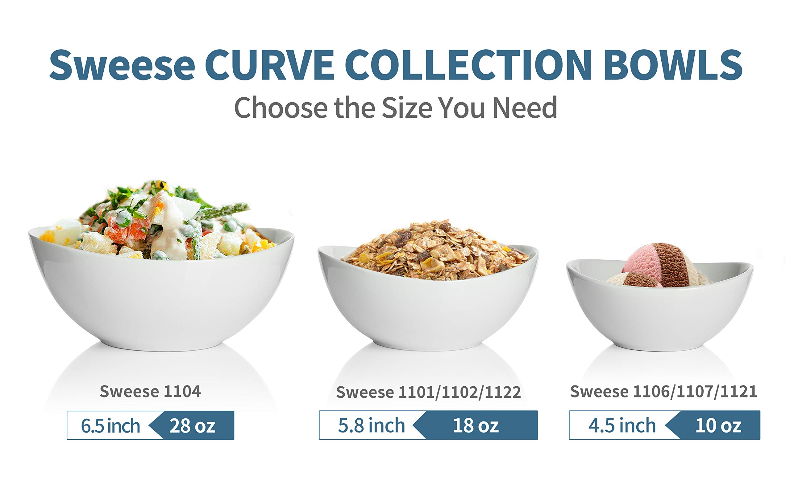 Sweese 1106 Porcelain Bowls - 10 Ounce for Ice Cream Dessert, Small Side Dishes - Set of 6, White by Sweese (Image #2)