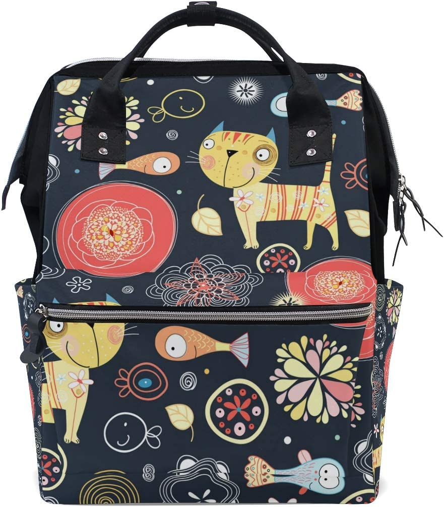 MONTOJ Cats and Fish Pattern Canvas Backpack Travel Campus Backpack