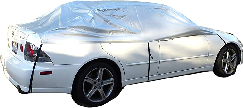 JUST N1 Safe View Half Car Cover Top Waterproof Dustproof Windshield Cover Snow Ice Winter Summer Windshield for Sedan SUV Size 118 x 90 Inch