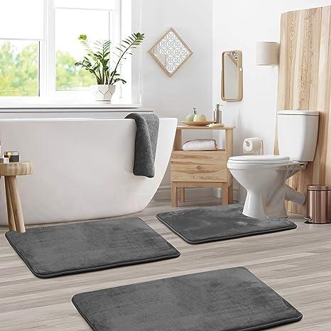 Amazon Com Clara Clark Memory Foam Bath Mat Sets 3 Piece Non Slip Absorbent Soft Bath Rug Set Fast Drying Washable Bath Mat Large Small And Contour Sizes Gray Kitchen Dining