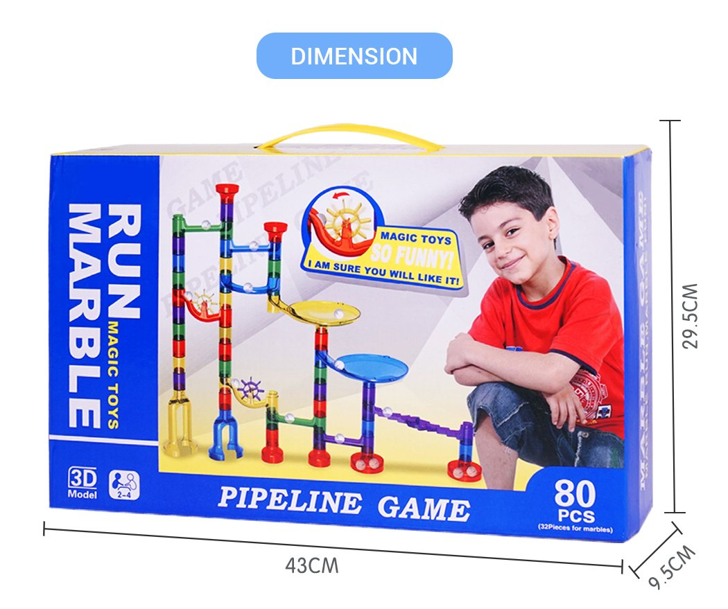 Marble Runs Set Kids Toys 80 Pcs Marble Race Track Game Marble Race Coaster Set Learning Toys Educational Construction Building Blocks Christmas Birthday Gifts STEM Toys Kids, 92 PCS by K Toys (Image #6)