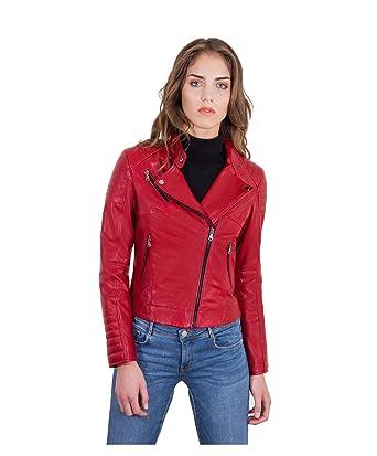 69060348a771 D Arienzo - Karim Trap • Couleur Rouge • Veste en Cuir Femme Perfecto Cuir  plongé Aspect Lisse  Amazon.fr  Vêtements et accessoires
