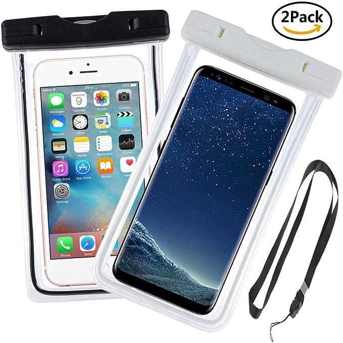 Ycloud [2 Pack] PIX8 Funda Sumergible Universal para Deportes acuaticos para Oukitel K5000/K4000 Pro, Blackview R6/BV5000, para teléfono móvil 4-6 Pulgada -(Blanco+Negro): Amazon.es: Electrónica