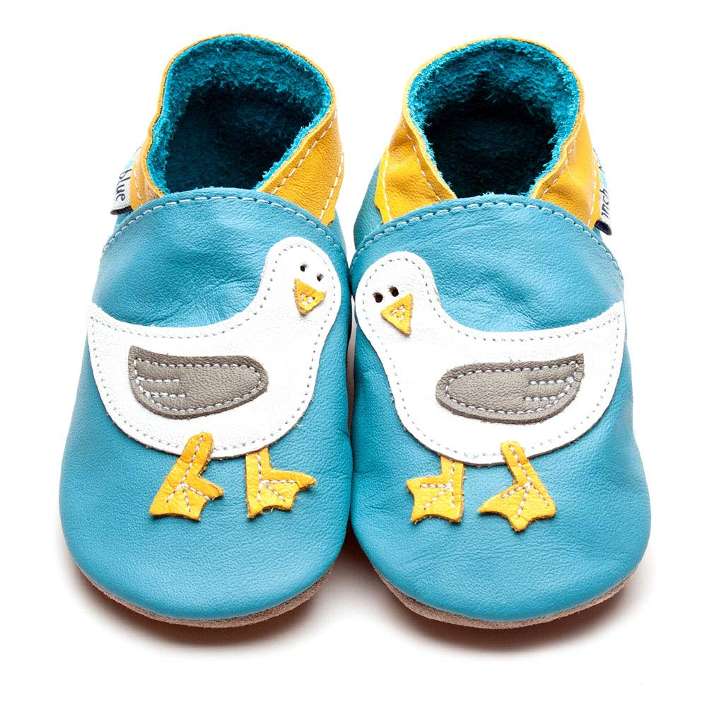 Inch Blue Soft Leather Baby Shoes Made in Britain Girls Boys Unisex 0-6 Months to 5-6 Years