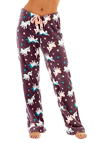 mujer polar suave Pijama Pantalones Pingüino, Unicornio, ZORRO O búho estampado tallas 8-