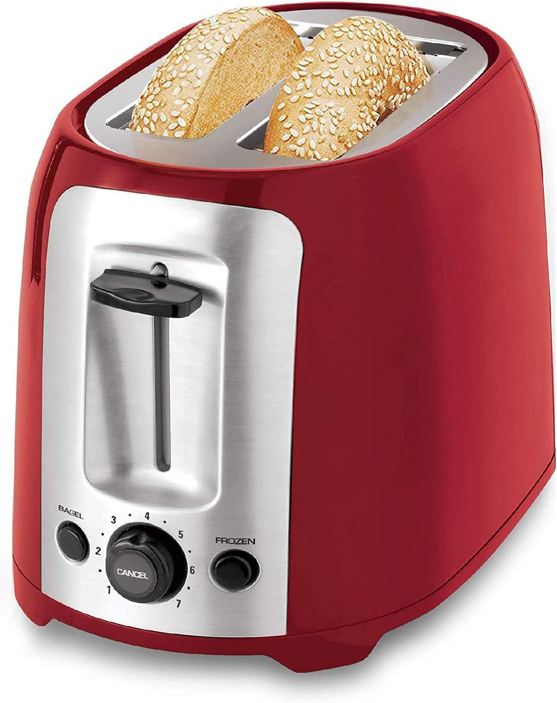 Culinary Edge 2-Slice Extra Wide Slots With High Lift Lever Toaster - Stainless Steel Accents with 2-Years Warranty (Red)