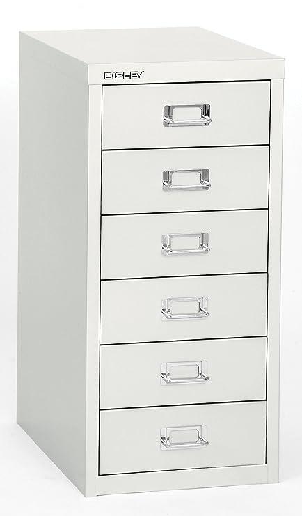 Bisley 6 Drawer Steel Multidrawer Storage Cabinet, White (MD6 WH)