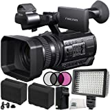 Sony HXR-NX100 HD NXCAM Camcorder 10PC Bundle. Includes 2 Replacement F970 Batteries + AC/DC Rapid Home & Travel Charger + 3PC Filter Kit (UV-CPL-FLD) + 160 LED Video Light + Microfiber Cleaning Cloth