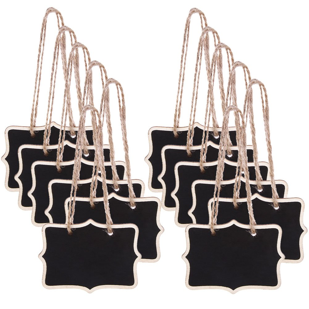 DSSY 24 Pieces Mini Chalkboards Signs Rectangle Hanging Blackboard for Message Board Signs