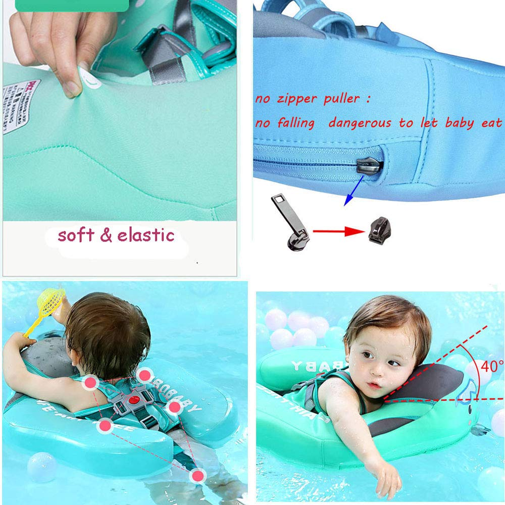 V Convey Upgraded Baby Infant Soft Solid Non-Inflatable Mambobaby Float Lying Swimming Ring Children Waist Float Ring Floats Pool Toys Swimming Pool Swim Trainer Classic Swim Ring (Green Cloth) by V Convey (Image #5)