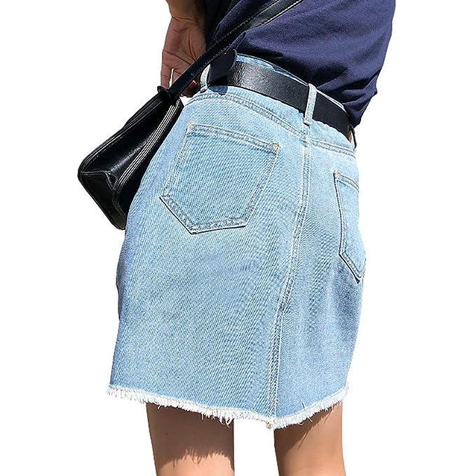 58a65151f Exllocity Denim Skirt Women Skirts Summer Sexy Mini High Waist Jean Skirt  at Amazon Women's Clothing store: