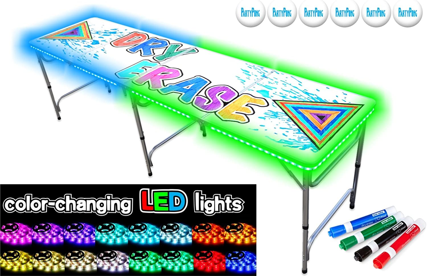 PartyPongTables.com Portable w Dry Erase Surface, LED Lights Markers Folding Table