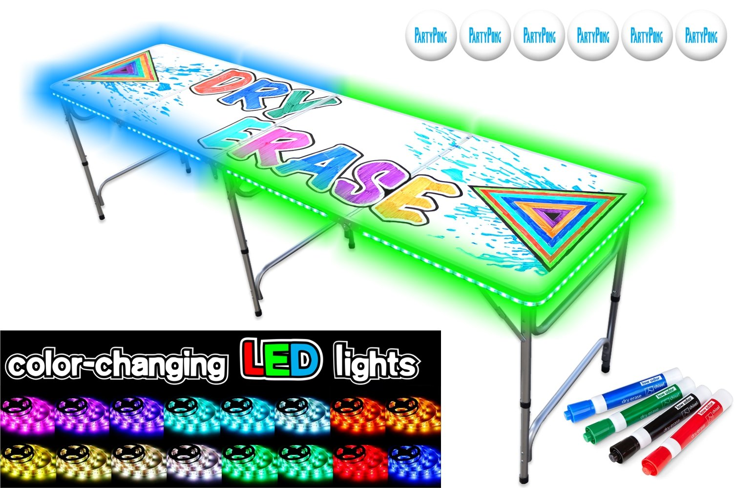 PartyPongTables 8-Foot Beer Pong Table with LED Glow Lights & Dry Erase Surface