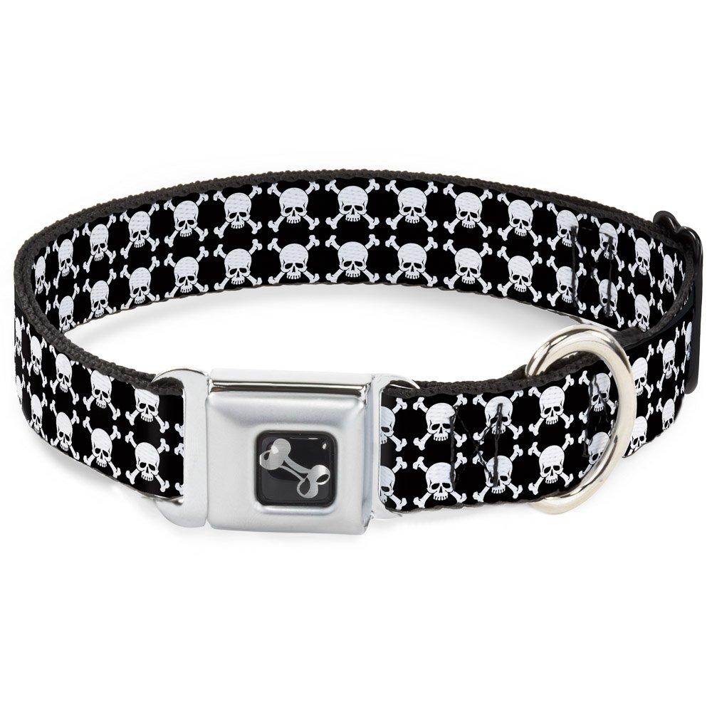 Buckle-Down Seatbelt Buckle Dog Collar Top Skulls Black White 1  Wide Fits 11-17  Neck Medium