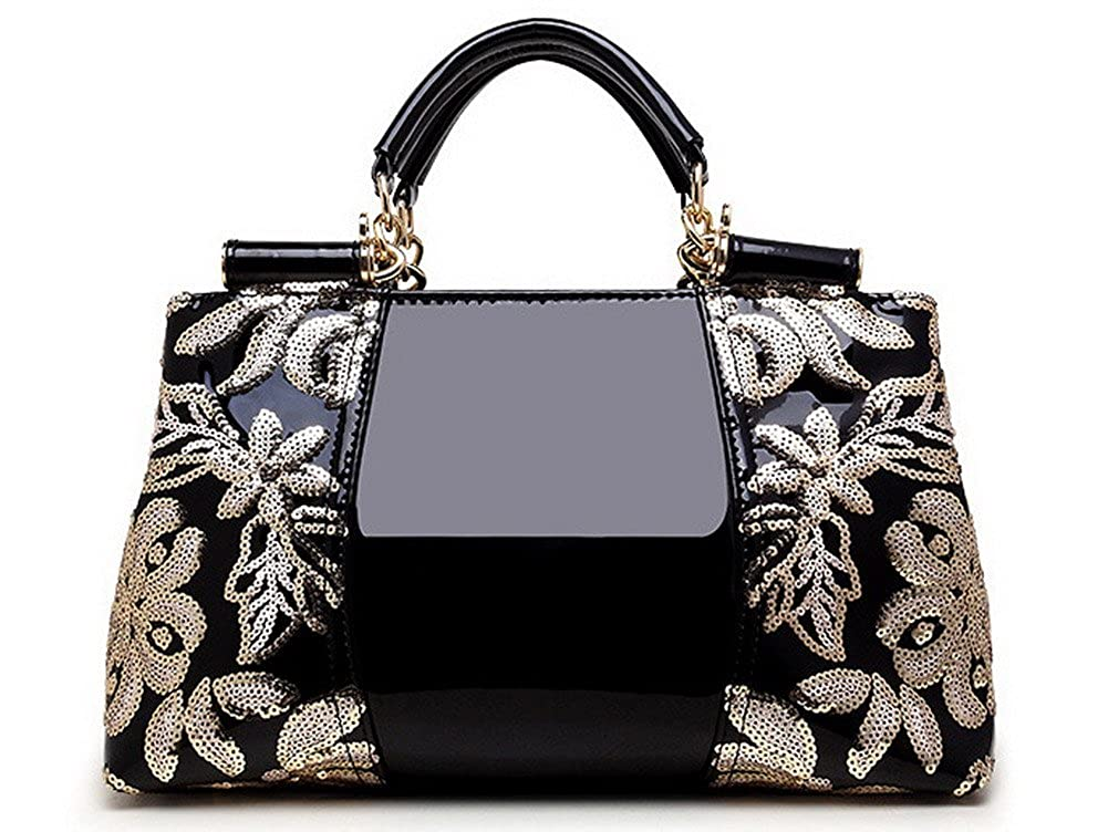 Black WeiPoot Women's Shopping PatentLeather Bags Embroidered Fashion