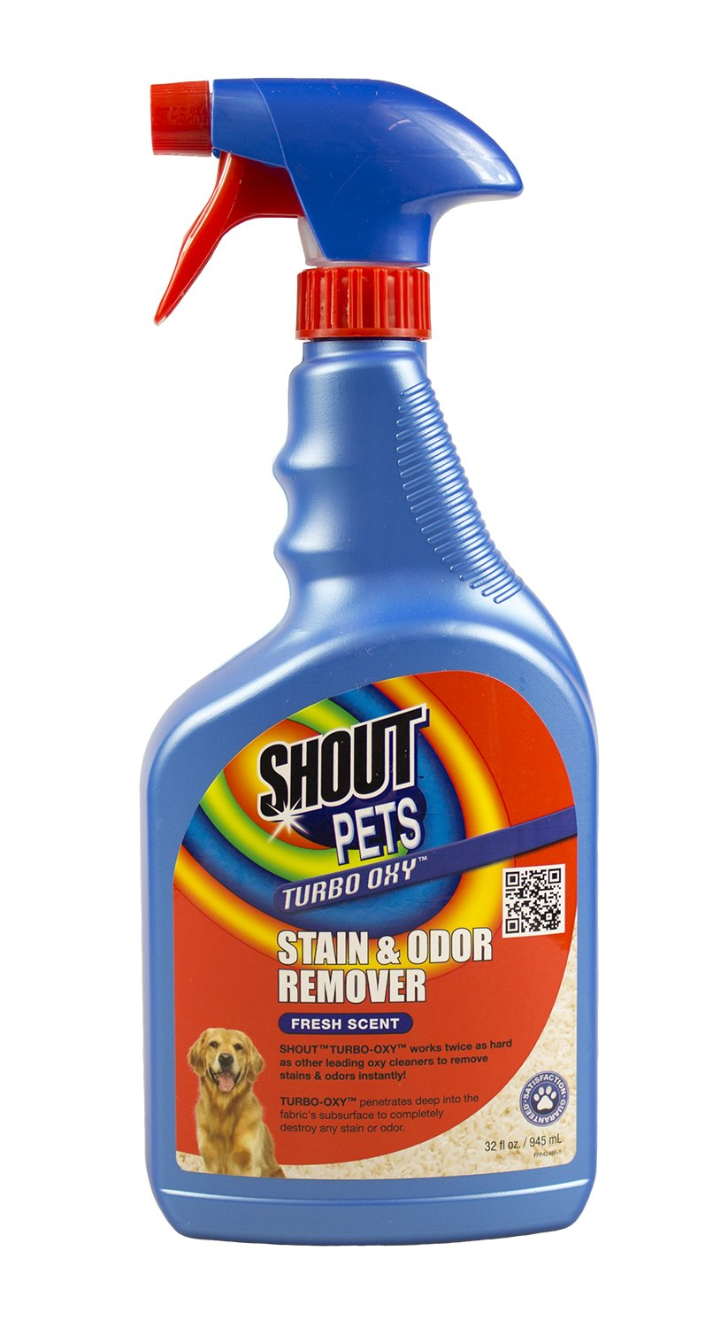 Shout for Pets Turbo Oxy Stain & Odor Remover | Best Pet Stain Remover For Carpet, 32 ounces, Fresh Scent