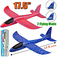BooTaa 2 Pack Airplane Toys, 17.5″ Large Throwing Foam Plane, 2 Flight Mode Glider Plane, Flying Toy for Kids, Gifts for 3 4 5 6 7 Year Old Boy, Outdoor Sport Toys Birthday Party Favors Foam Airplane