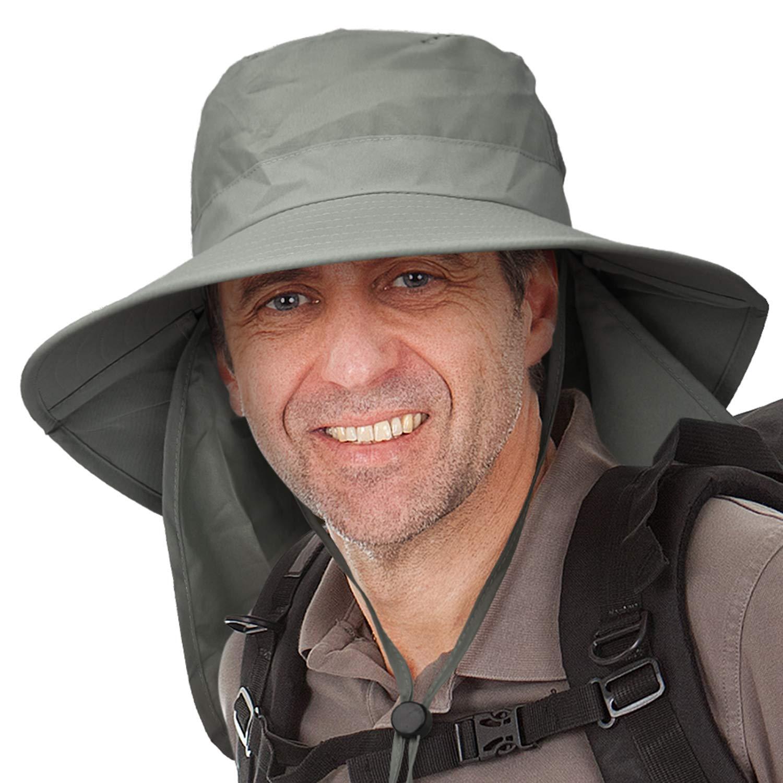 Amazon.com   Catalonia Men s Sun Protection Hat with Neck Flap Cover ... 3d45c8b33d1