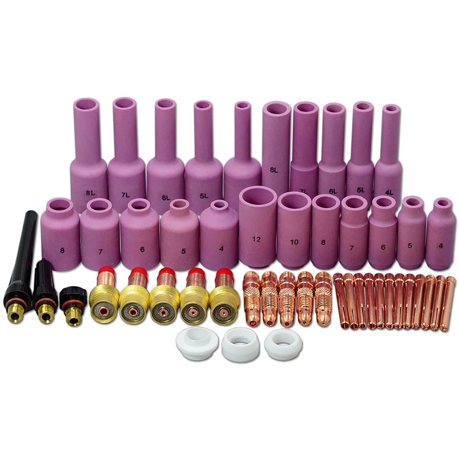 TIG Gaz Objectif tig back cap cé ramique buse Assorted Taille Kit Fit DB SR WP17 18 26 TIG torche de soudage 50pcs RIVERWELDstore