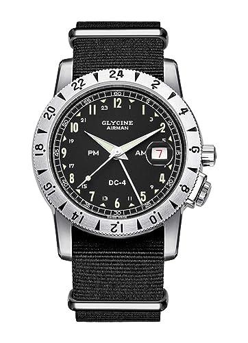 Glycine Airman DC-4 Vintage GMT GL0071-3904.191H12.TB9 - Reloj de Pulsera para Hombre, analógico, automático: Amazon.es: Relojes