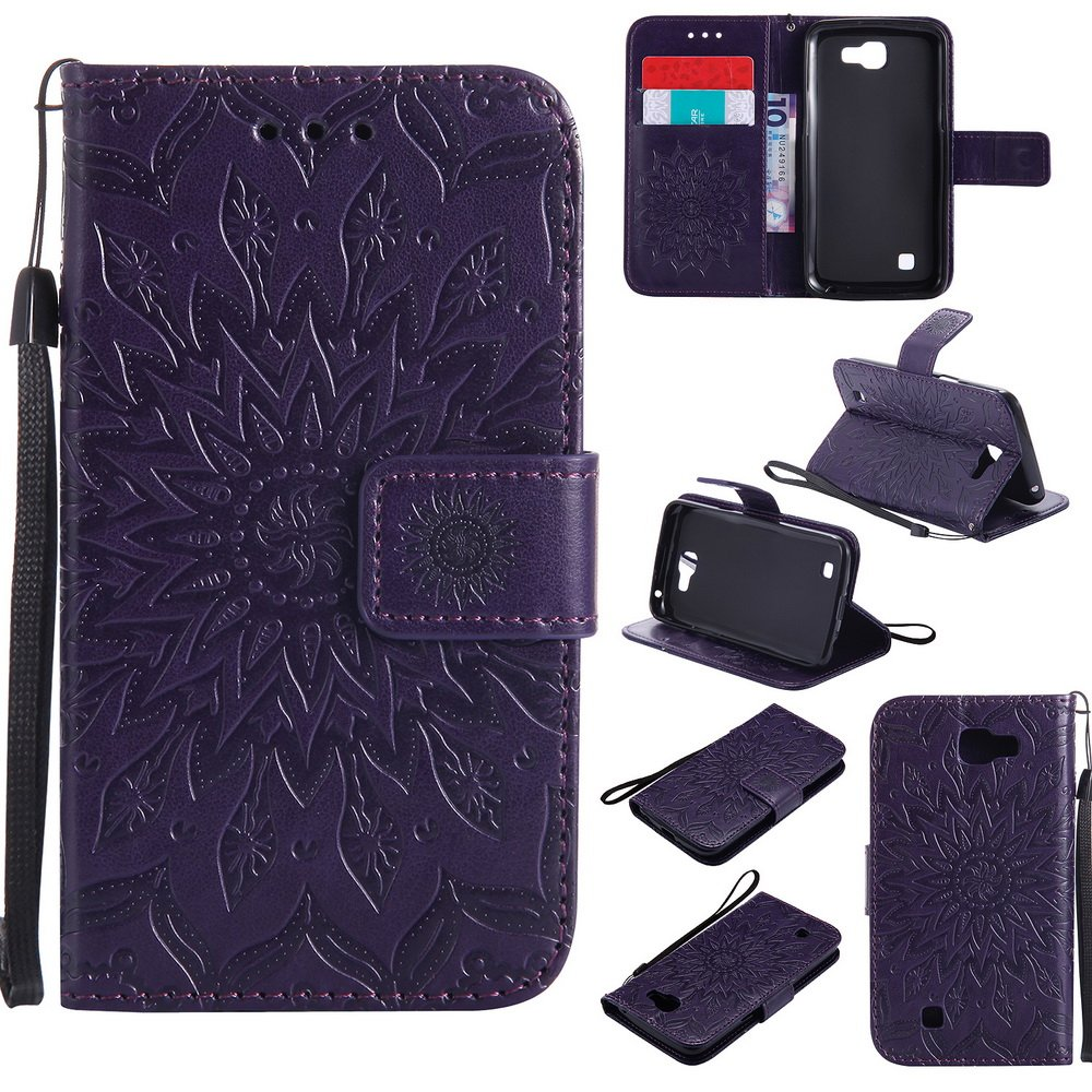 NEXCURIO [Embossed Flower] LG K4 (2016) / Spree/Rebel LTE/Optimus Zone 3 Wallet Case with Card Holder Folding Kickstand Leather Case Flip Cover for LG K4 (2016) (Purple)