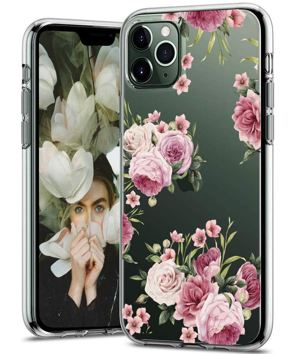 BSLVWG Clear Case For iPhone 11 Pro,flower Floral Flower Pattern Clear Design Transparent Plastic Hard Back Case with Soft TPU Bumper Protective Case for Apple iPhone 11 Pro 5.8 inch Peony