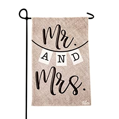 Garden Flag - Mr & Mrs Double Sided Decorative Flags for Outdoors - Weather Tested and Fade Resistant USA Designed - Best for Party Yard and Home Outdoor Decor - 12x18 inches