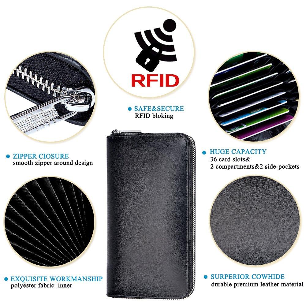 RFID Blocking Leather Wallet 36 Slots Card Holder Large Zipper Purse for Women/Men (Black) by Szezon (Image #3)