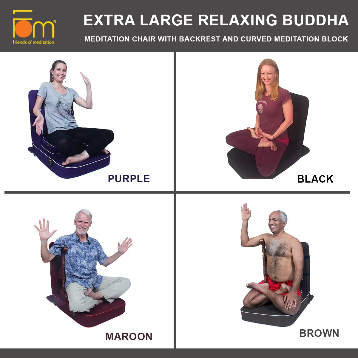 Amazon.com : Friends of Meditation Extra Large Relaxing Buddha Meditation and Yoga Chair with backsupport and Meditation Block (Pack of 8 Maroon) : Sports & ...
