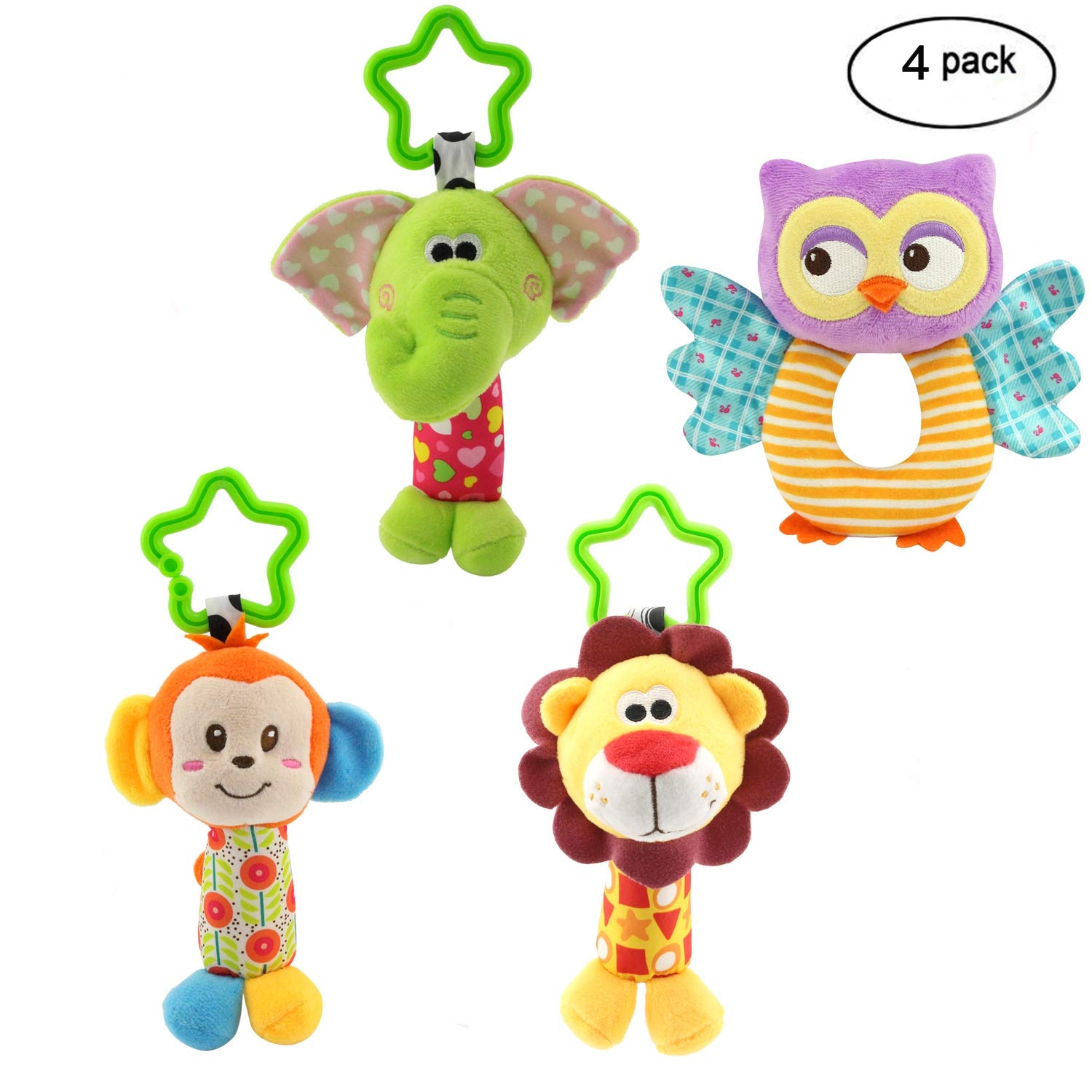 MKONY Baby Crib Hanging Toys, Infant Stroller Car Seat Bed Toys,Newborn Activity Development Toy, Babies Unique Travel Hanging Rattle Plush Toys (4 Pack) by MKONY
