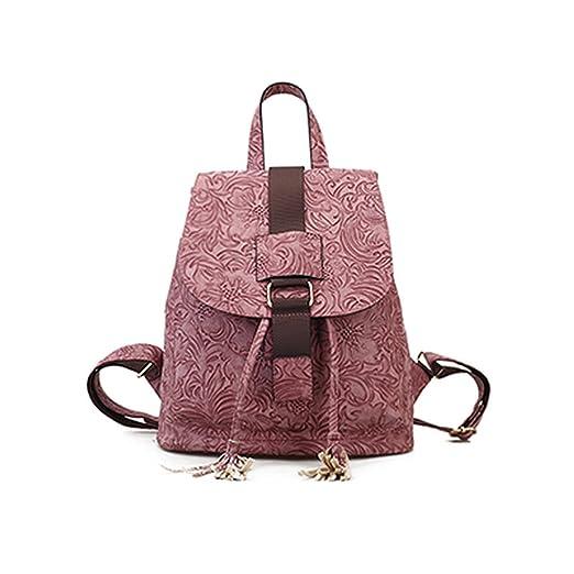 e66716c6a12f Image Unavailable. Image not available for. Color  3D Floral Relevo  Embossed Women Pu Leather Bag Femme Backpack Vintage Backpacks Teenage Girls  ...