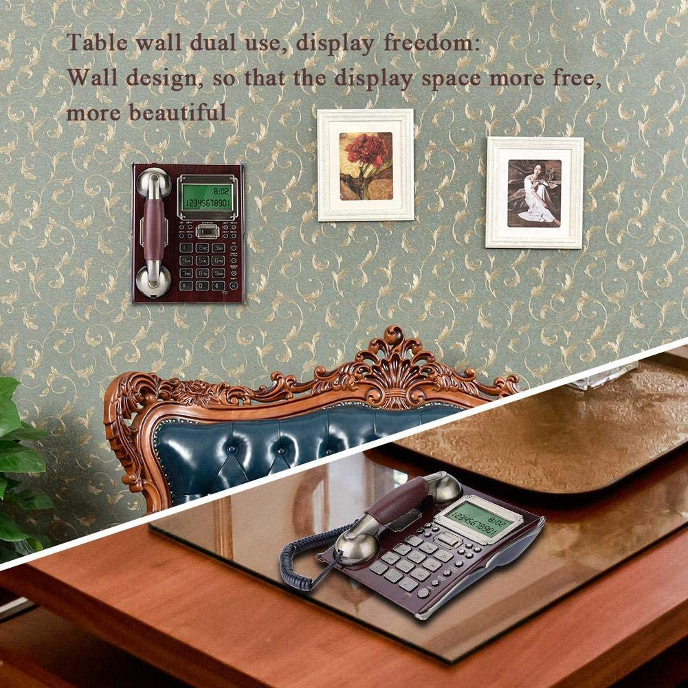 Wall Telephone European Antique Fixed Telephone Landline Wall Mounted Phone for Home with Personality Rings Multiple Alarm Clocks Volume Control Rde Peach Wood Richer-R Vintage Telephone
