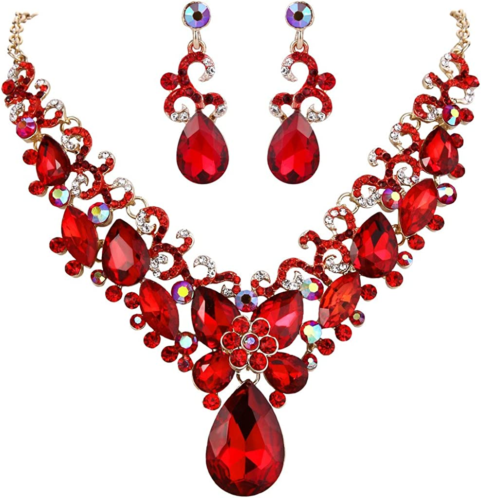 Clearine Mujer Bohemio Lágrima Marquesa-Piedra Mariposa Filigrana Collar de Plastron Dangle Pendientes Conjunto