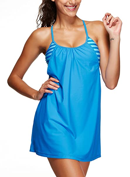 Azue Damen Zweiteilig Tankini Set Bademode Badeanzug Schwimmkleid Badekleid  mit Shorts Hellblau 3XL (EU 44 e71aab4639