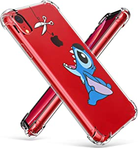 """Logee TPU Stitch Cute Cartoon Clear Case for iPhone XR 6.1"""",Fun Kawaii Animal Soft Protective Shockproof Cover,Ultra-Thin Chic Unique Funny Creative Character Cases for Kids Teens Girls Boys(iPhoneXR)"""