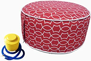 Inflatable Ottoman footrest Stool with Portable air Pump and Storage Bag or Pouch Used for Outdoor or Indoor Travel Portable Camping Backyard Patio Garden Home Yoga footrest Stool (Red)